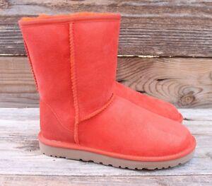 UGG-Australia-Womens-Classic-Short-Hazard-Orange-Sheepskin-Boots-US-11-UK-9-5