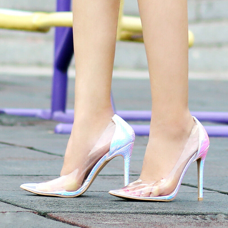 Women Color High Heels Pointed Toe PVC Clear Slip On Pumps Stiletto Sexy Shoe C9