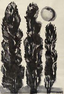 Pappeln Im Mondschein Tuschzeichnung 1990-2000 Luxuriant In Design Agathe BÖttcher