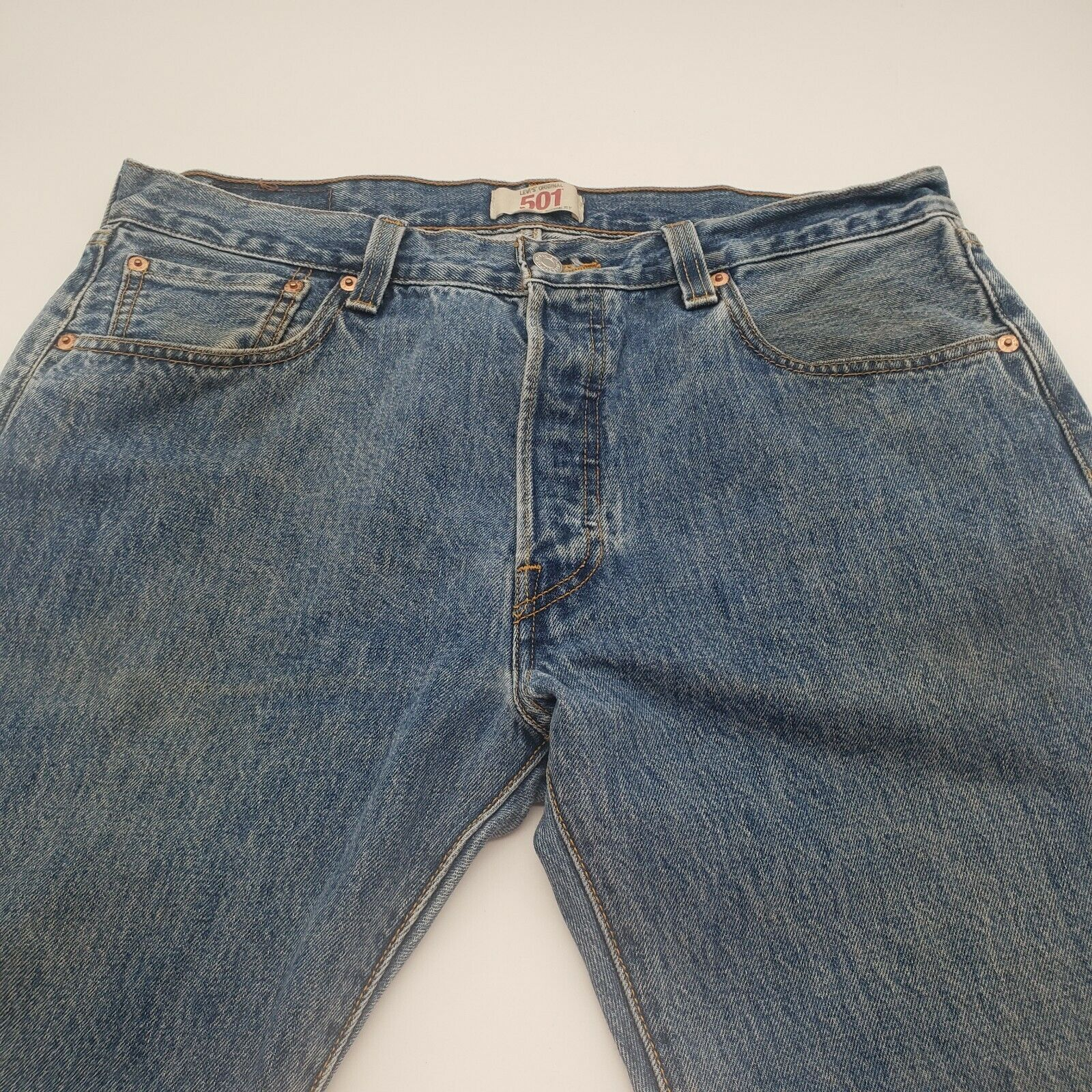 Levis 501 Button-Fly Mens 35x30 Well Worn Faded D… - image 5