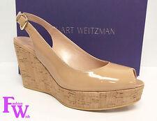 New STUART WEITZMAN Size 9 JEAN Nude Beige Patent Platform Heels Shoes ANALINE