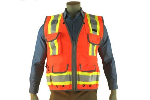 Indian River High Visibility Orange Heavy Duty Surveyors Vest Two-Toned Class 2