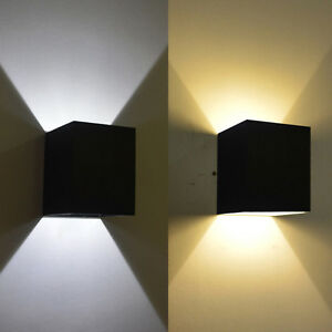 Black Square Wall Lights : Black Wall Sconce 3W LED Square Wall Lamp Hall Porch Walkway Living Room Light