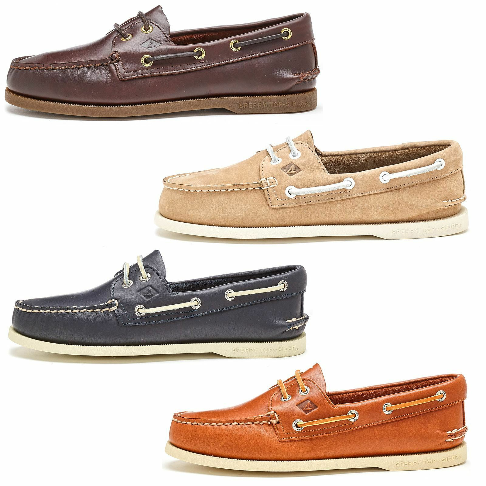 Sperry Authentic Original 2-Eye Boat Deck Shoes in Brown Taupe & Blue