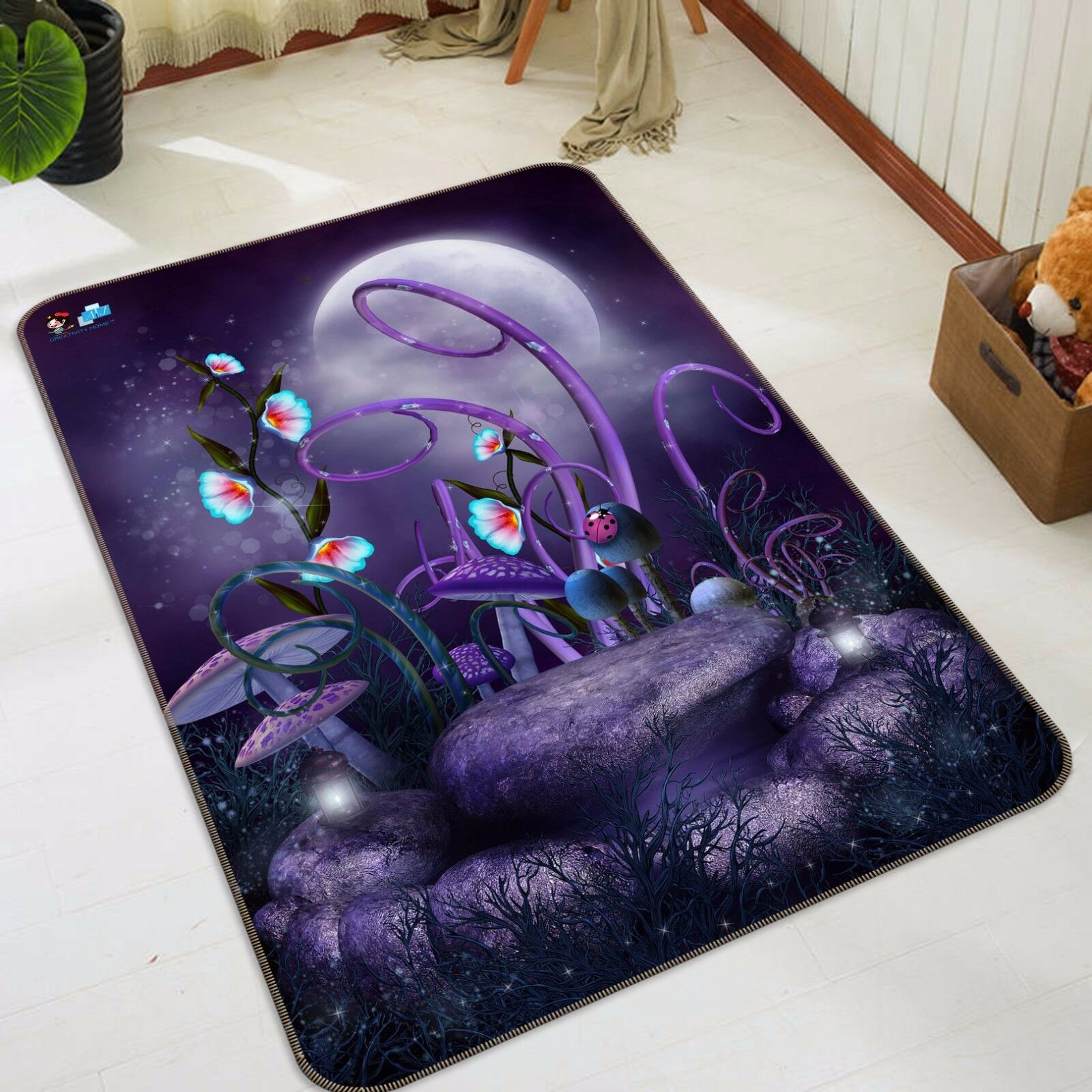 3d púrpura hongos 428 antideslizante alfombra alfombrilla para maletero alfombra elegante de