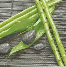 3 Servietten Napkins Asien Bambus Bambusstangen Bambusblätter Steine Deko #166