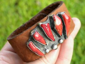Ketoh-sterling-silver-coral-Bear-claw-Bison-leather-one-of-kind-cuff-bracelet