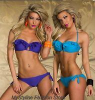 Bikini Neckholder Bandeau Push Up gepolstert Spange Rüschen 2 farben 34 36 38 40