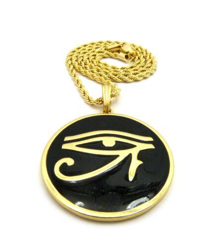 "Egyptian Eye of Horus Round Pendant 24/"" Various Chain Hip Hop Necklace XTP66G"