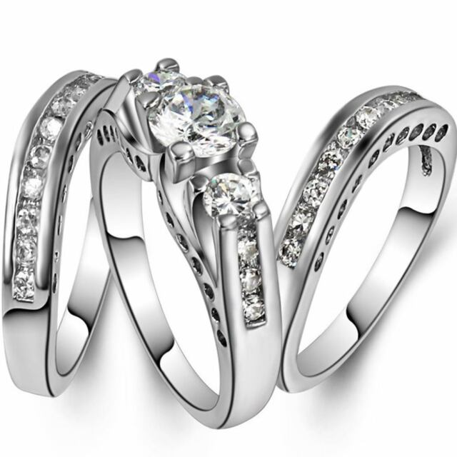 Size 5-11 Three-in-One Engagement Rings Set Wedding Rhodium 925 Sterling Silver