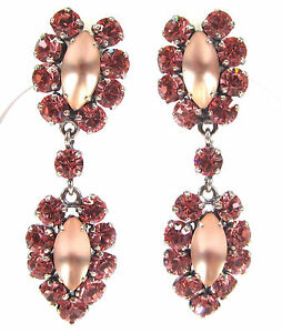 SoHo-Ohrclips-Traube-bohemia-navette-light-rose-peach-frosted-Kristall-rosa