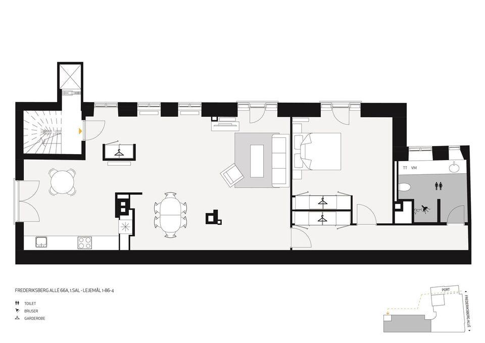 1820 vær. 2 lejlighed, m2 132, Frederiksberg Alle