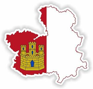 La Mancha Spain Map.Sticker Silhouette Castilla La Mancha Spain Map Flag For Bumper