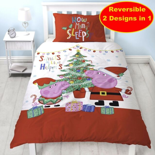 Peppa Pig Navidad Sábanas cama individual Noel | Compra