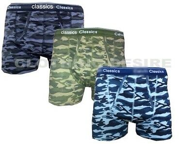 3pack Mens Boys Camouflage Boxers Shorts Camo Print Classics Army Trunks S-XXL