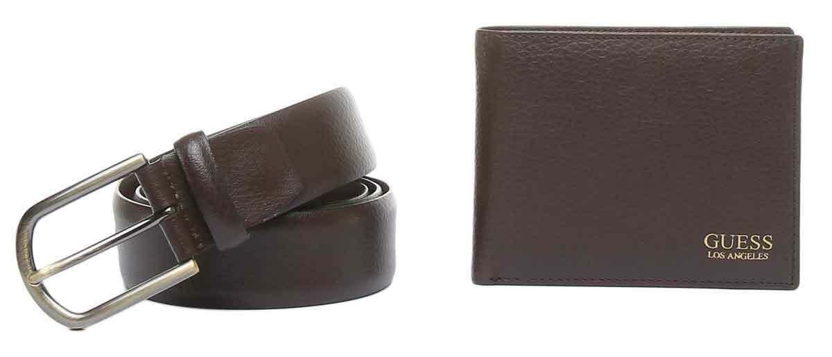 Guess Mens Leather Belts And Wallet Gift In Brown