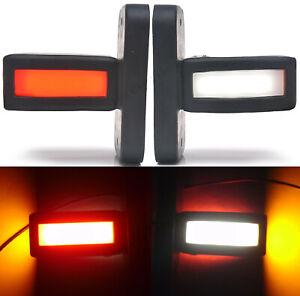 2 x 12V 24V LED NEON AMBER SIDE MARKER CLEARANCE LIGHTS TRUCK TRAILER BUS LORRY