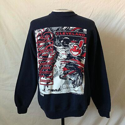 super popular 85e8d 1b0c0 Vintage 90's Trench Cleveland Indians Crew Neck Sweatshirt Large Blue VTG  MLB   eBay