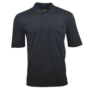 Mens-Polo-Shirt-BLACK-Sport-Chest-Pocket-Classic-S-M-L-XL-XXL-3XL-BLEND-NEW