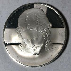 Head-of-Santo-Spirito-Crucifix-The-Genius-of-Michelangelo-Sterling-Silver-Medal