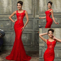 RED Mermaid Formal Long Lace Evening Ball Gown Party Prom Bridesmaid Dress 6-20