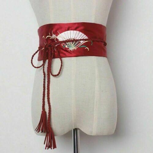 Women Satin Belt Kimono Obi Wide Yukata Waistband Embroidered Fringe Japanese
