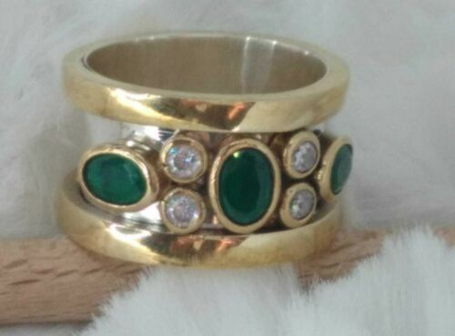 STERLING 925 SILVER HANDCRAFT JEWELRY ZAMBIA EMERALD  BAND RING