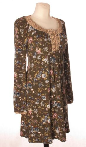 Green Women's Dress A Container Line Sleeve Neck S Stretch Long Cowl Floral SZWpYCqw