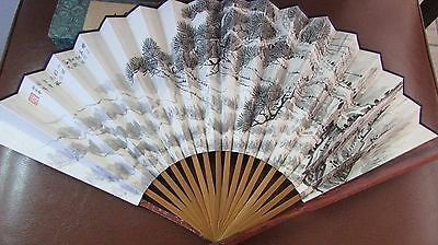 Beautiful Vintage Chinese Hand Fan 2 sided Cloth Rosewood Handle w/ Original box