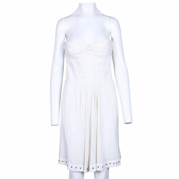 Isabel Marant Etoile vit Cotton bussglidasr crêpe sommar Dress Metal Eyels SZ 36
