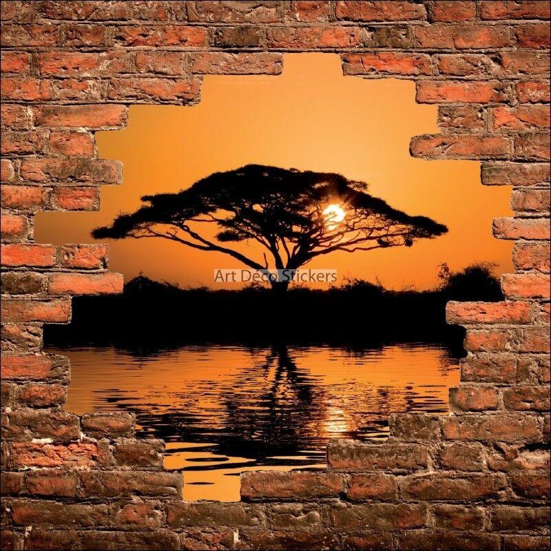 Sticker mural trompe l'œil mur de pierre Coucher de soleil en Afrique 870