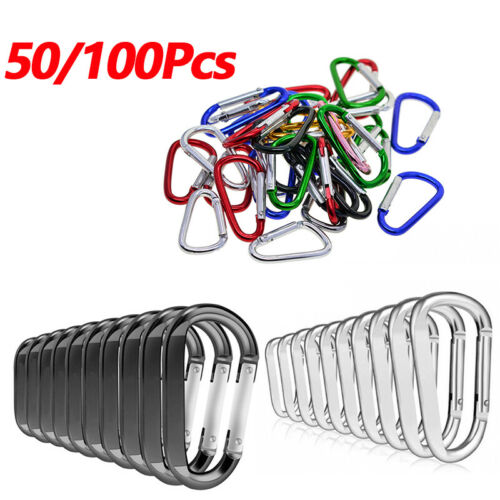 Lot 50//100 Pcs Silver//Black Aluminum Carabiner Spring Belt Clip Key Chain Set
