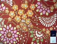 Amy Butler Lotus Geisha Fans Clay Cotton Fabric By Yard