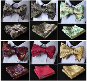 2258cb22878e Men's Butterfly Self Bow Tie Floral Paisley Woven Pocket Square ...
