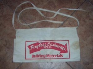 VTG-PAYLESS-CASHWAYS-CANVAS-NAIL-POUCH-APRON-BUILDING-ADVERTISING-LUMBER