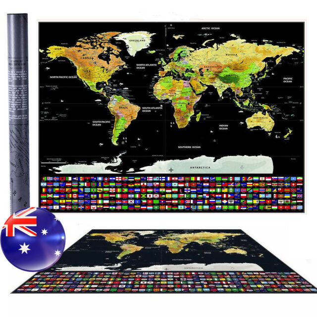 Travel Tracker Big Scratch Off World Map Poster & Australia Flags Christmas Gift