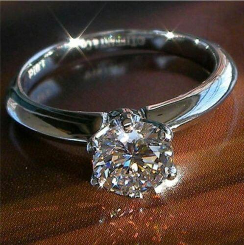 2Ct Round-Cut D//VVS1 Diamond Solitaire Engagement Ring 14K White Gold Finish