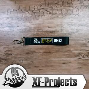 Schluesselband-Bier-Uhr-mit-Karabiner-Band-Polyester-Schwarz-mit-Druck