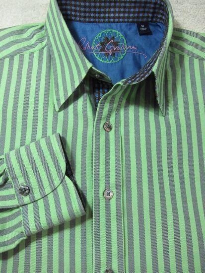 GORGEOUS Robert Graham Signature Green and bluee Stripe Cotton Shirt M 15.5x33