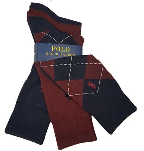 2 PLAIN 1 ARGYLE POLO RALPH LAUREN 3 PACK Navy /& MAROON LUXURY SOCKS GIFT BNwT