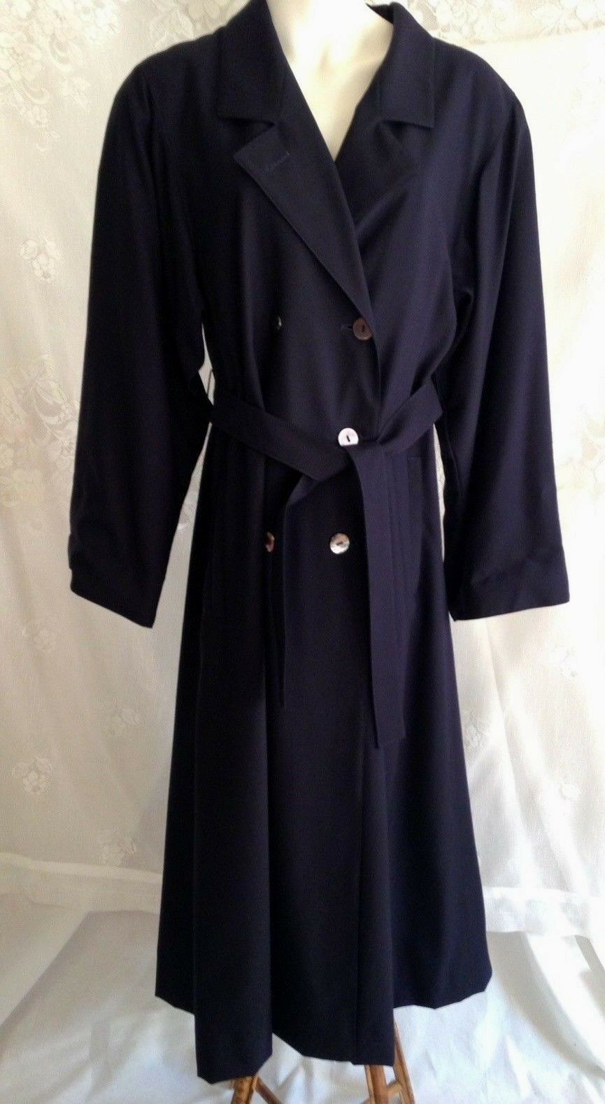 JAEGER Great Britain Britain Britain  100% Wool Trench Coat Navy bluee Double Breasted Women's 8 bb131c