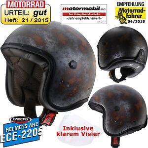 CABERG-Jethelm-FREERIDE-RUSTY-Helm-Fiberglas-inklusive-GRATIS-VISIER-Motorrad