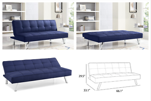 Fine Details About Modern Convertible Upholstered Sleeper Sofa Bed Futon Couch Lounger Navy Blue Home Interior And Landscaping Dextoversignezvosmurscom