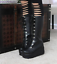 Womens-Punk-Platform-Wedge-High-Heel-Mid-Calf-Goth-Lace-Up-Boots-Round-Toe-Shoes thumbnail 2