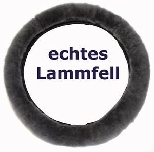 Lammfell-Lenkradbezug-Anthrazit-Lenkradschoner-Lenkradueberzug-37-39-cm-Fellbezug