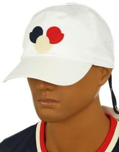 f1ef81c20c0 NEW MONCLER MEN S WHITE COTTON LOGO BASEBALL CAP HAT ONE SIZE MADE ...