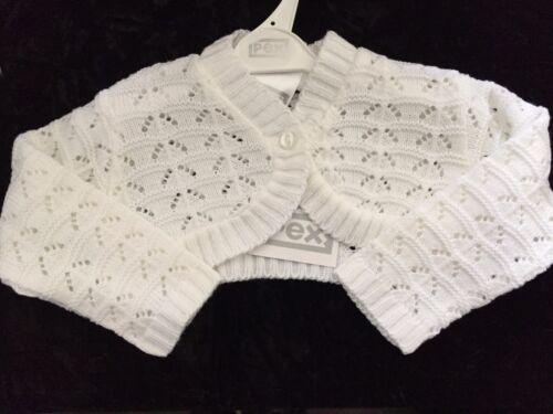 NEW GIRLS PEX BABY PINK-WHITE KNITTED CROPPED PRAM//PARTY BOLERO CARDIGAN  0-9 M