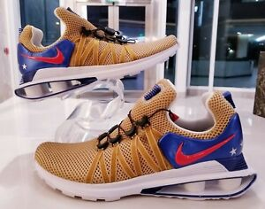 Nike-Shox-Gravity-Metallic-Gold-Red-Blue-Running-Shoes-Men-039-s-SZ-AR1999-700