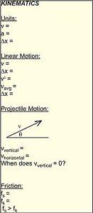 Details about ^*^*^*^*^* MCAT DAT PCAT SAT ACT Physics Physic Cheat Sheet  Formula