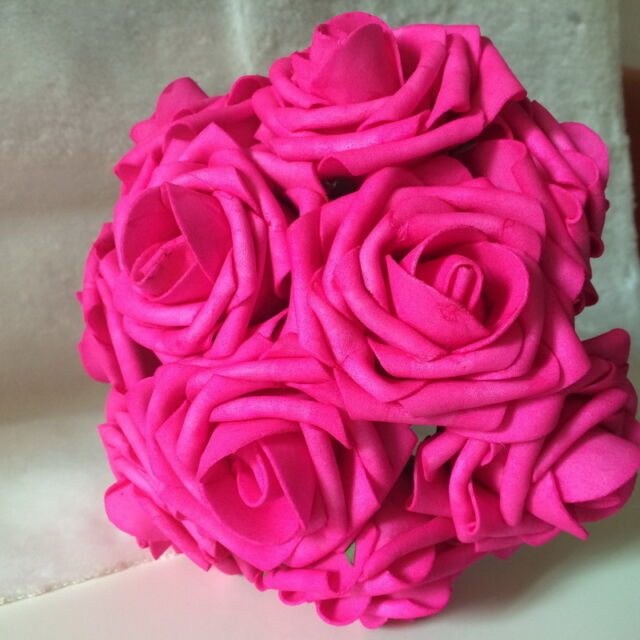 Hot Pink Fuschia Fake Flowers 3\
